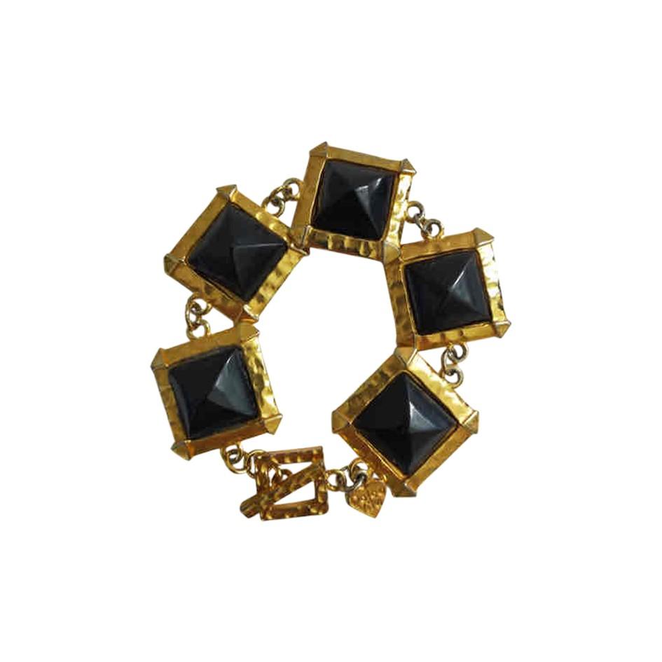 Bracelet en métal doré 80s