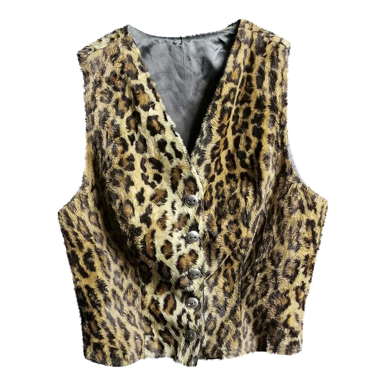 Gilet en velours léopard