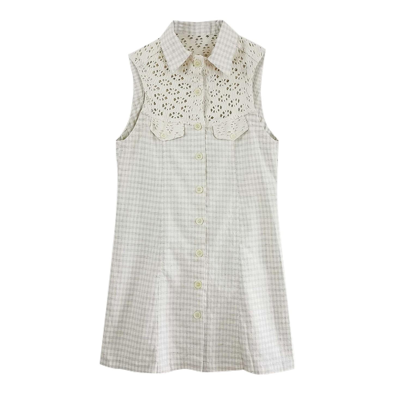 Mini robe vichy boutonnée