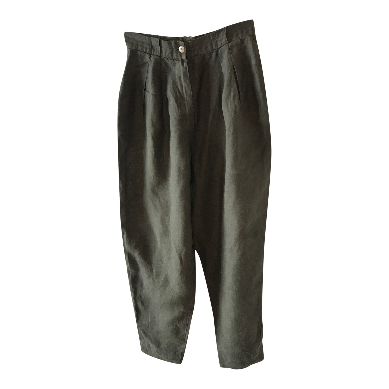 Pantalon en lin taille haute