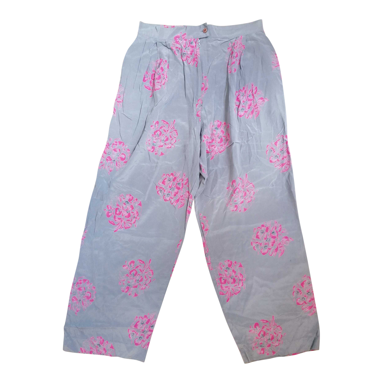 Pantalon en soie à fleurs