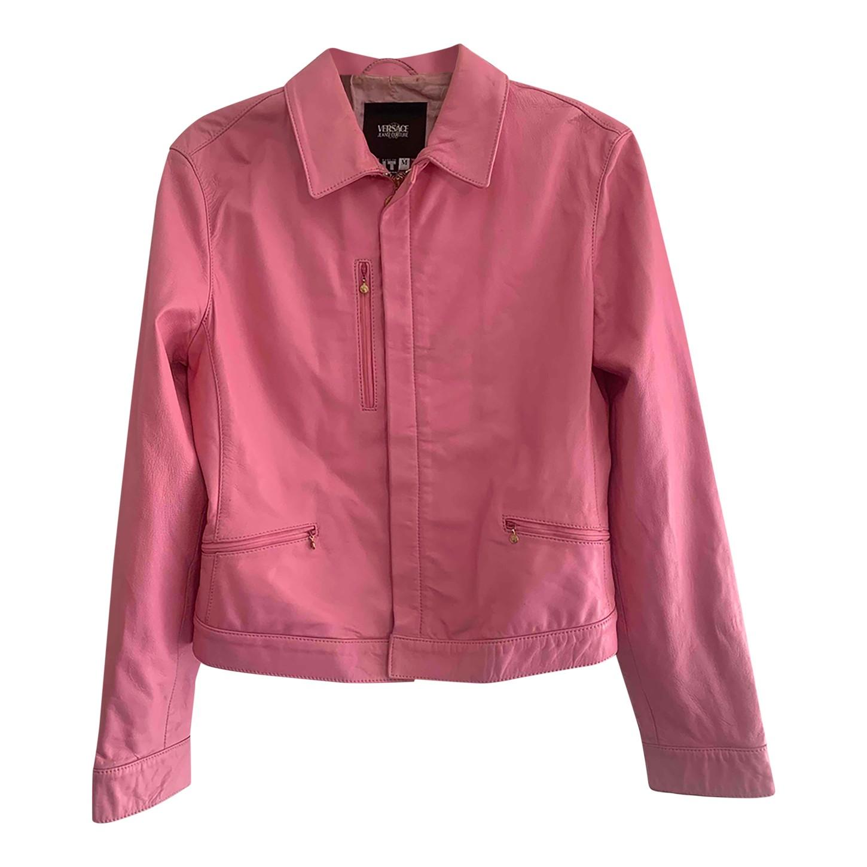 Veste Versace en cuir rose