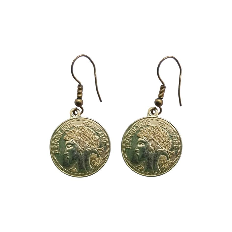 Boucles d'oreilles pièces de monnaie