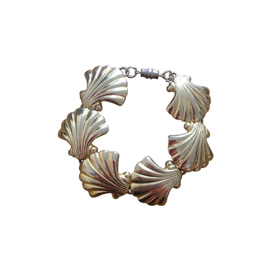 Bracelet coquillages en métal doré