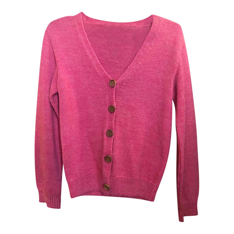 Cardigan rose en laine