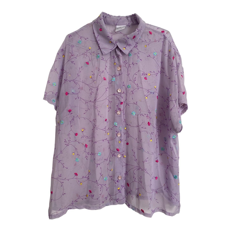 Chemise lilas à fleurs