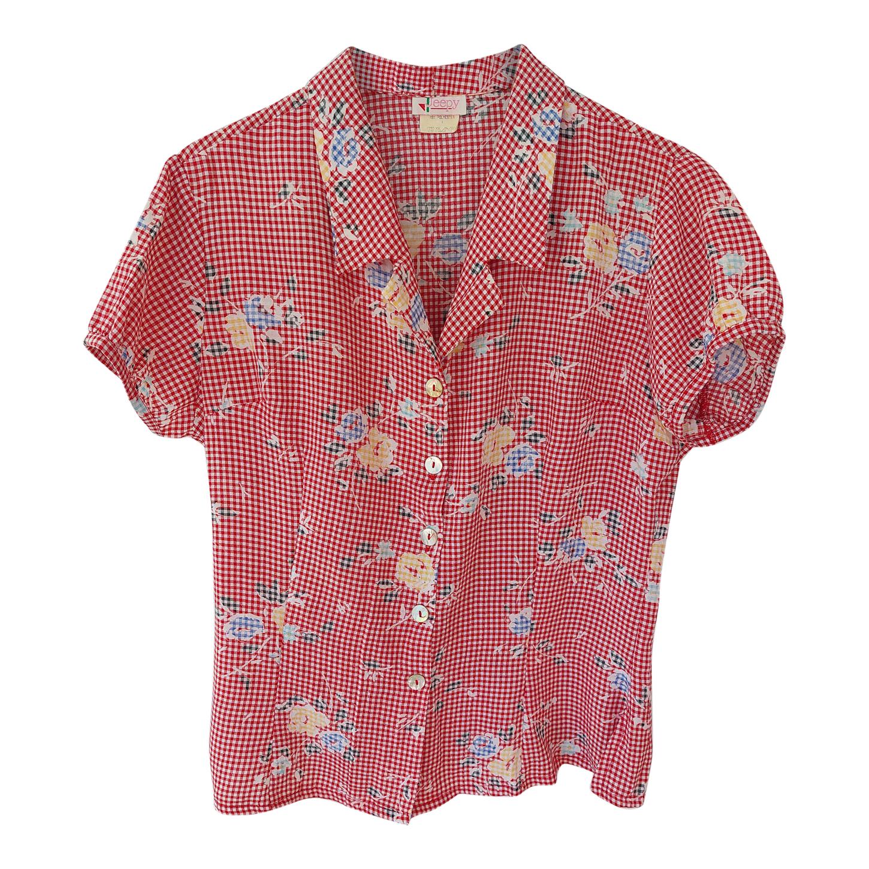 Chemise vichy à fleurs