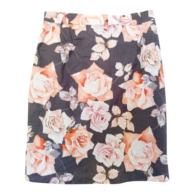 Jupe taille haute à fleurs
