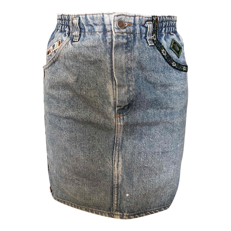 Mini-jupe en jean taille haute