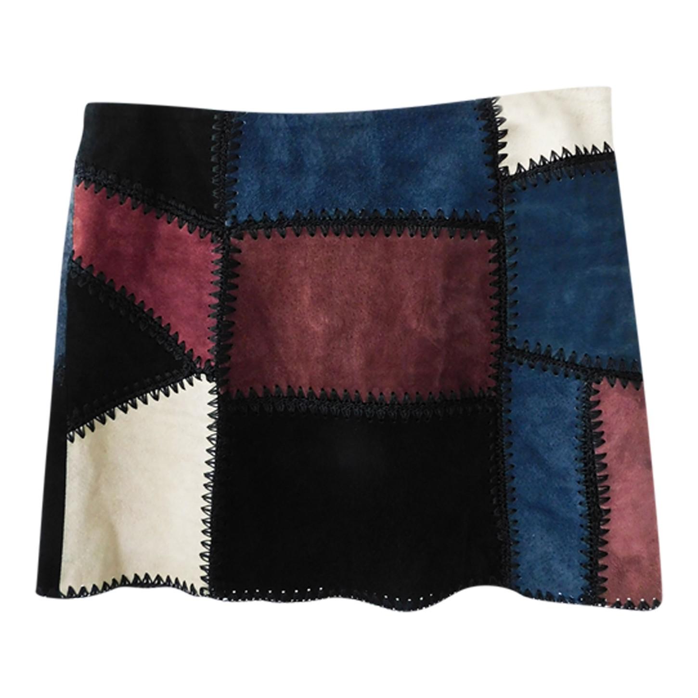 Mini jupe patchwork de cuir