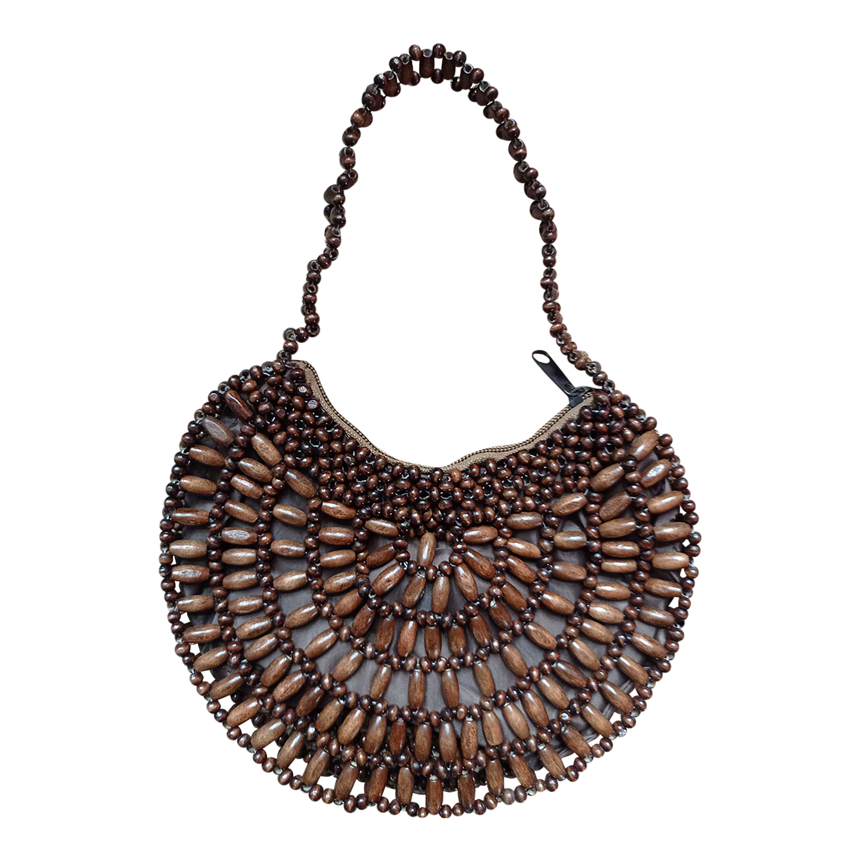 Mini sac en perles de bois