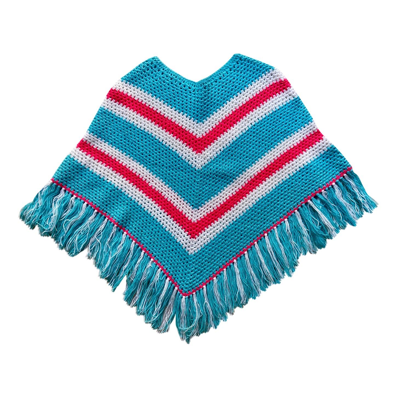 Poncho en laine 70's