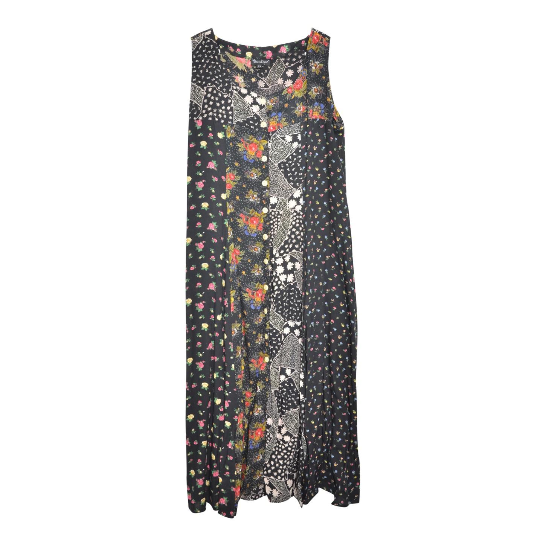 Robe longue boutonnée à fleurs