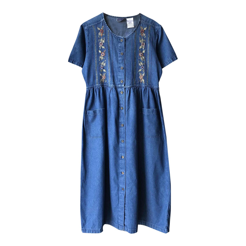 Robe longue en jean brodé