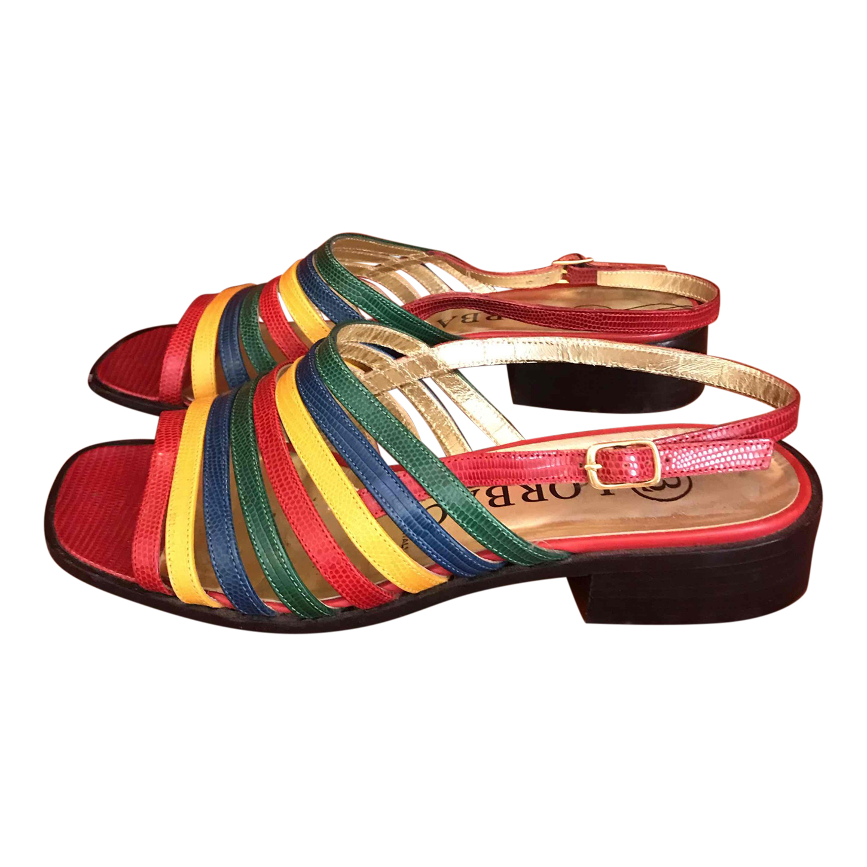 Sandales en cuir multicolore