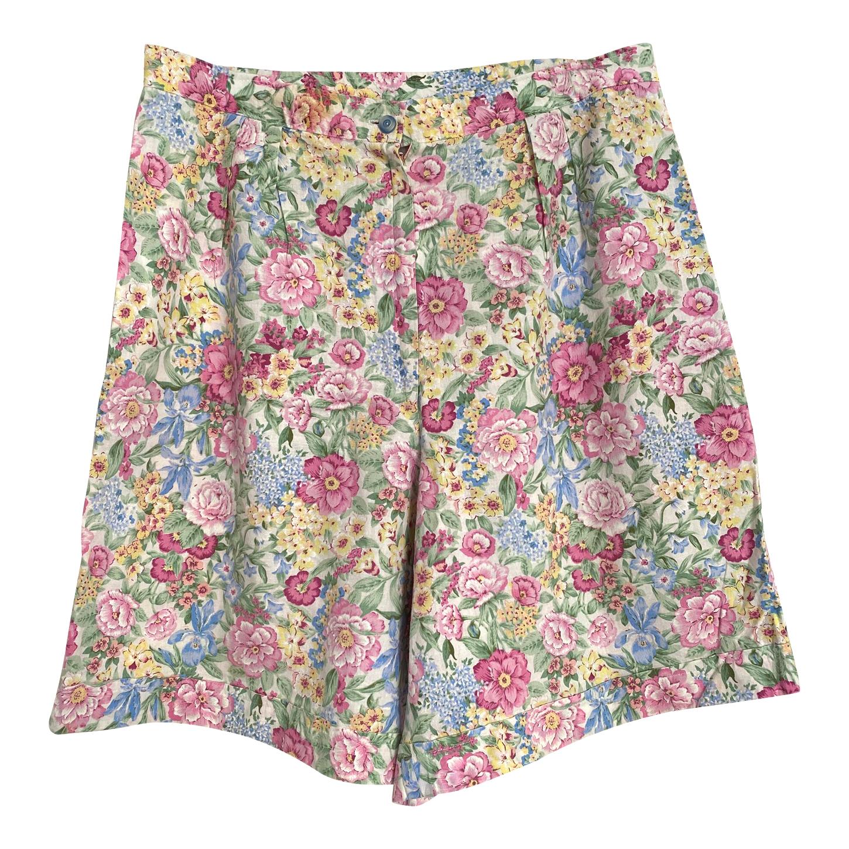 Short taille haute à fleurs