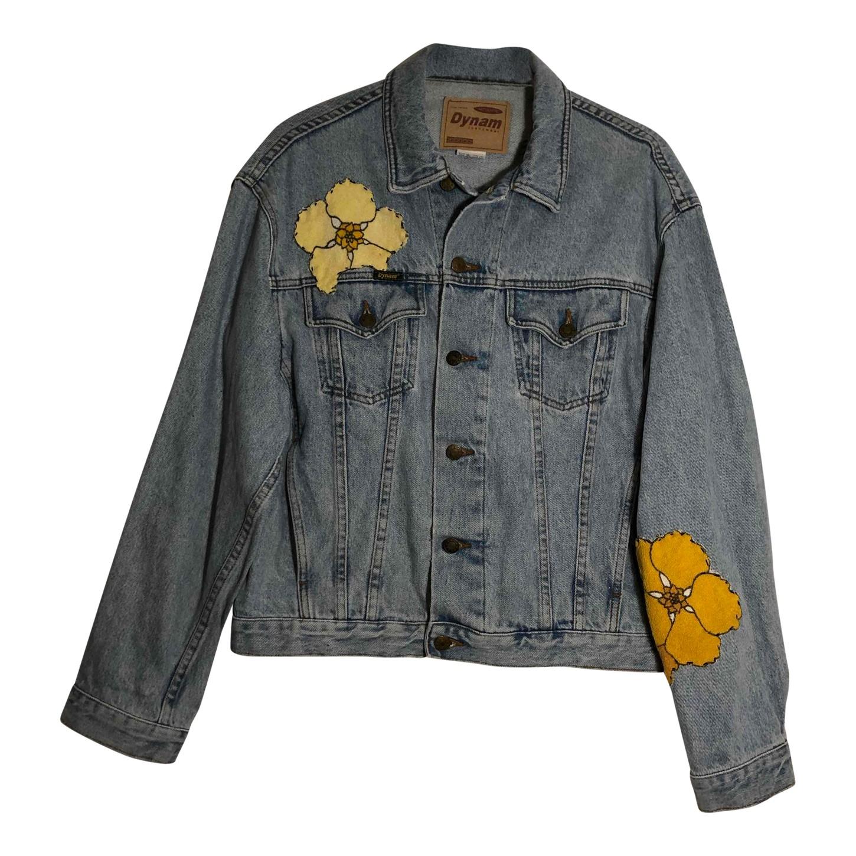 Veste en jean à fleurs