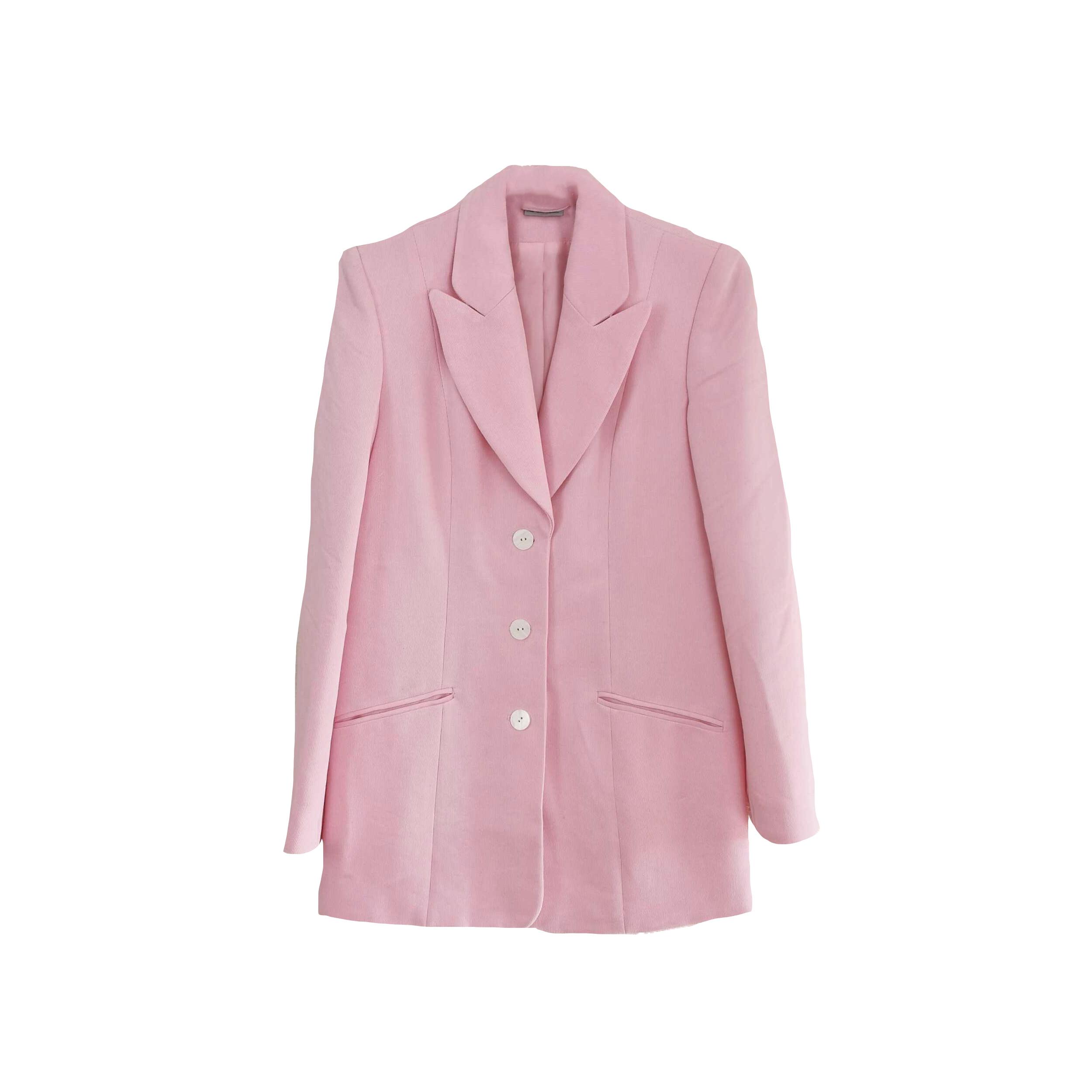 Blazer rose pastel côtelé