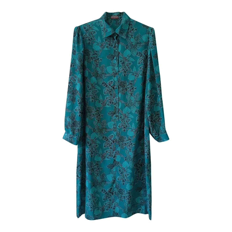 Superbe robe longues manches midi bleu m