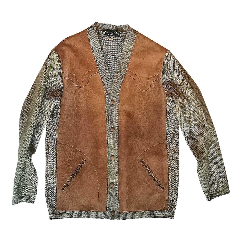 Cardigan en laine et cuir